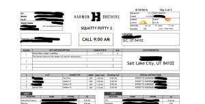 Call sheet for Squatty Potty Unicorn Gold